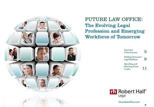 A thumbnail of the cover of the report, The Evolving Legal Profession and the Emerging Workforce of Tomorrow