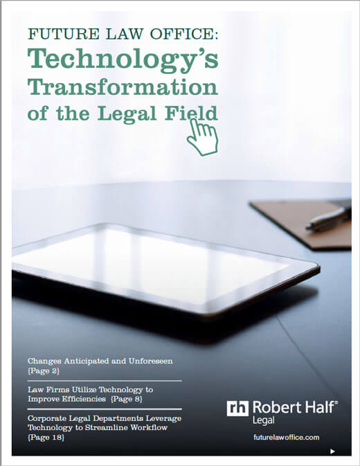 A thumbnail of the cover of the report, Technology's Transformation of the Legal Field