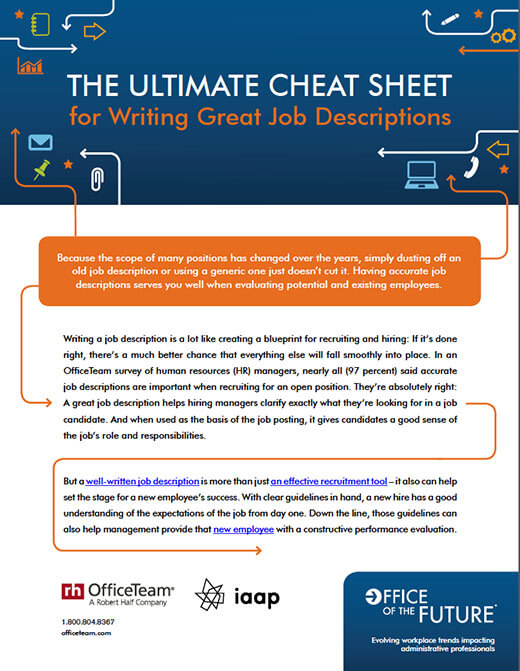 View the ultimate cheat sheet for writing great job descriptions