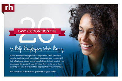 Tipsheet with 20 easy employee recognition tips