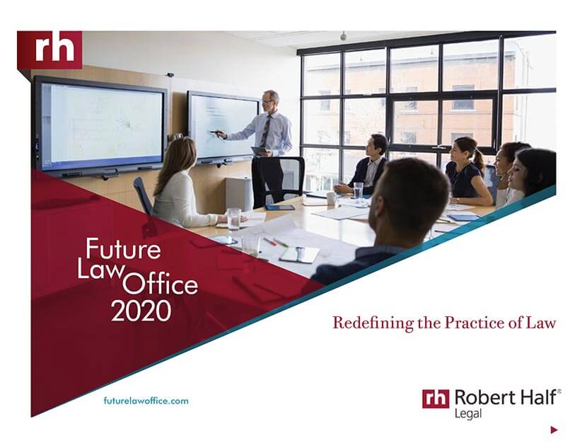 The cover of Future Law Office 2020: Redefining the Practice of Law from Robert Half Legal