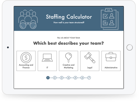 Staffing Calculator screen as it looks on Tablet
