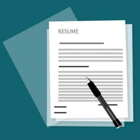 "A piece of paper with ""Resume"" at the top"