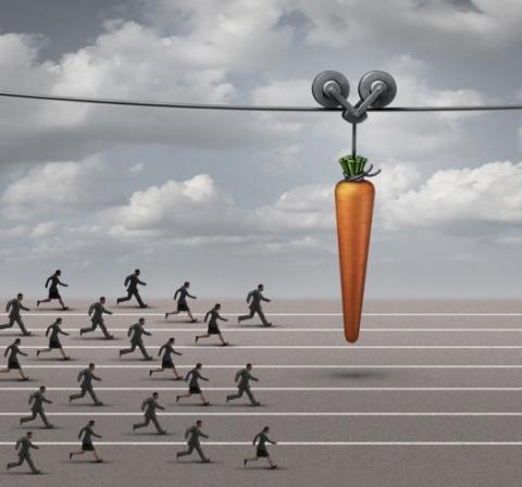 Workers chasing a carrot as they learn career lessons