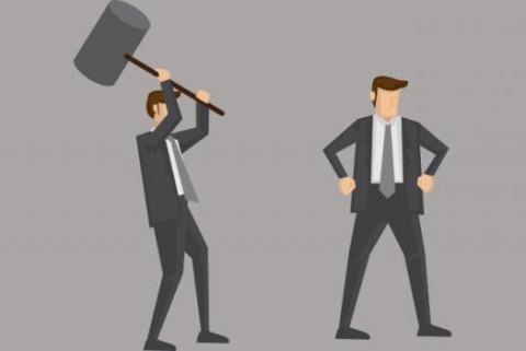 Another day of office politics - a cartoon man about to hit a coworker with giant hammer