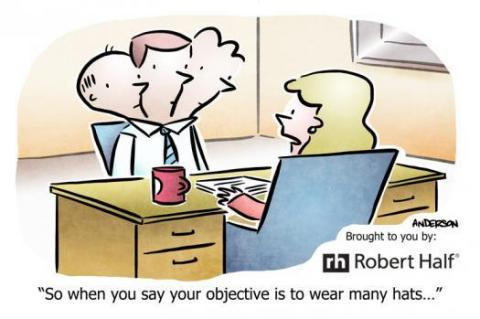 Cartoon depicting an employer reading a bad resume objective statement.
