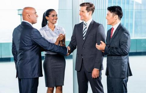 Group of lawyers meet and look for a client focused lawyer to hire