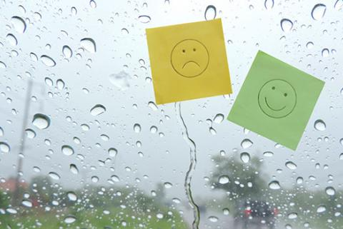 Image of a sad face and a happy face on post-it notes signifying a change in feelings about work