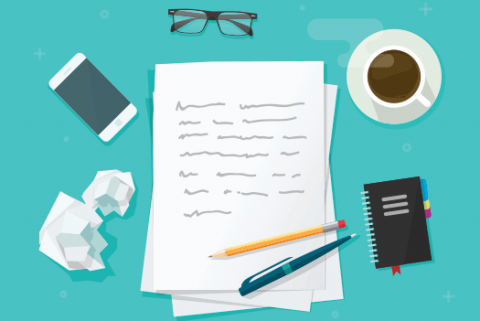 Illustration of pen and paper on desk – gearing up to write a creative job description