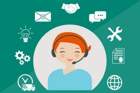 Illustration of a desktop support analyst with a headset.