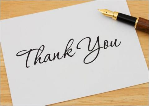 "A card with the words ""thank you"" to be used as a post-Interview thank-you note"