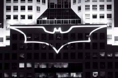 Batman sign on building at night