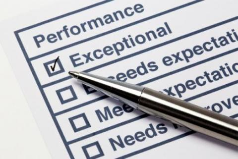 "Performance survey with ""Exceptional"" checked off"