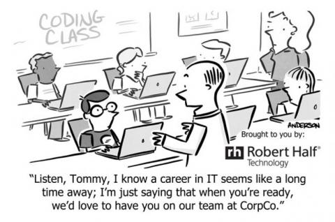 Cartoon of a tech recruiter offering a job to a coding student