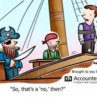 Cartoon of job applicant walking the plank of a pirate ship