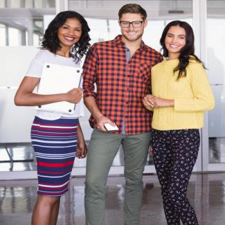 3 young accountants wear casual outfits in the office
