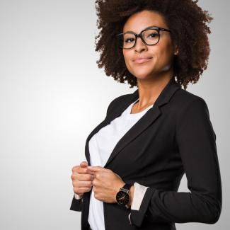 powerful black woman wearing a suit